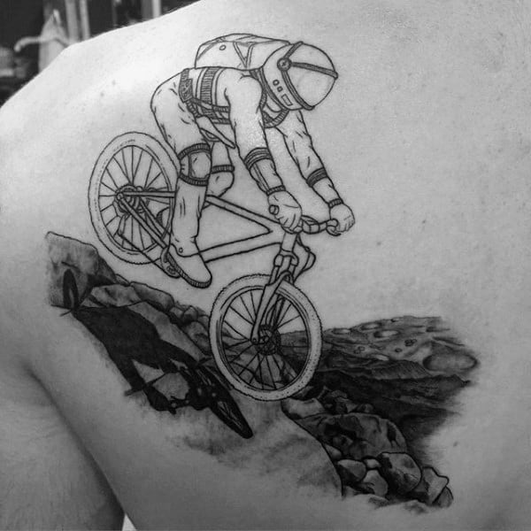 Bicycle Jumping On Rocks Tattoo Shoulder Male