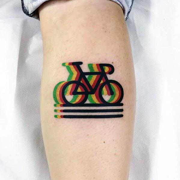 bicycle-small-colorful-mens-modern-leg-calf-tattoo