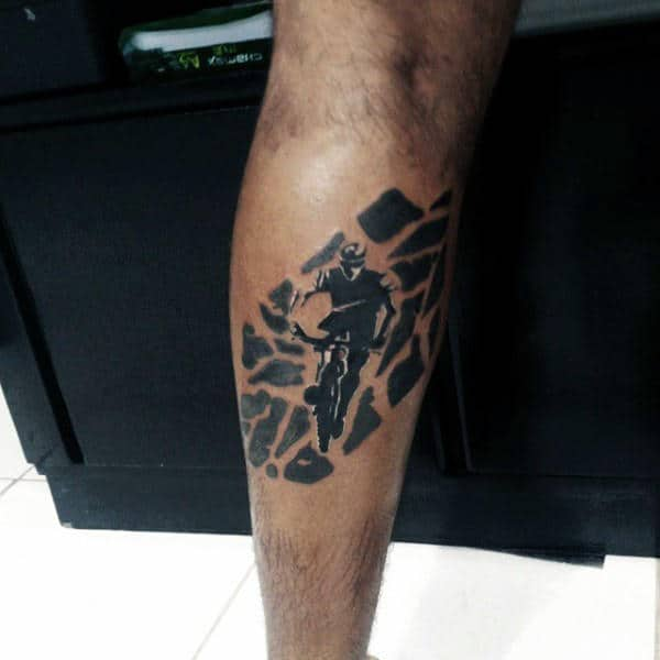 Bicycle Tattoo On Legs For Men