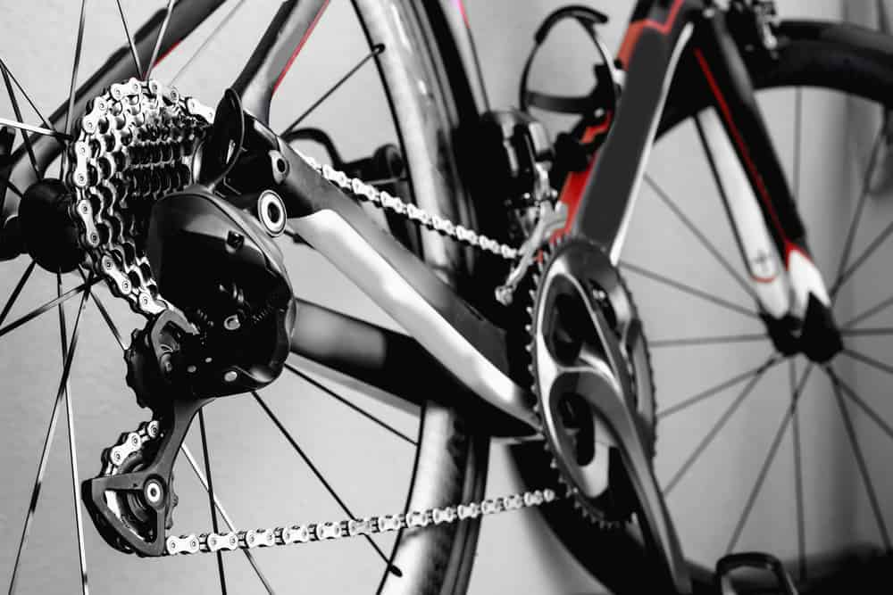 bicycle wheel and chain close up