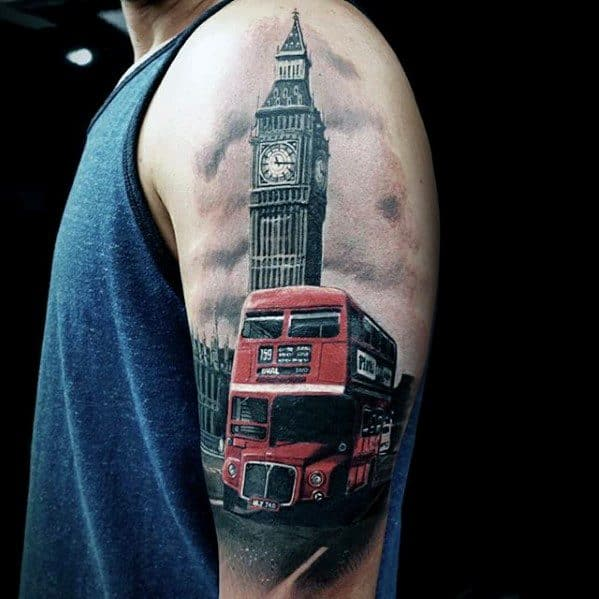 50 big ben tattoo designs for men clock ink ideas. Black Bedroom Furniture Sets. Home Design Ideas