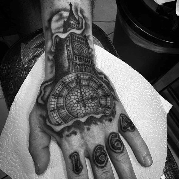 Big Ben Guys Hand Tattoo Ideas