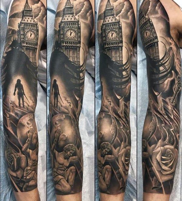 Big Ben London Clock With Atlas Mens Full Sleeve Tattoos