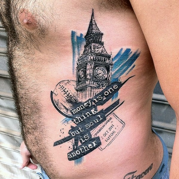Big Ben Male Rib Cage Side Tattoo Designs