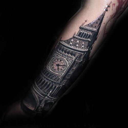 Big Ben Mens Forearm Tattoo Ideas