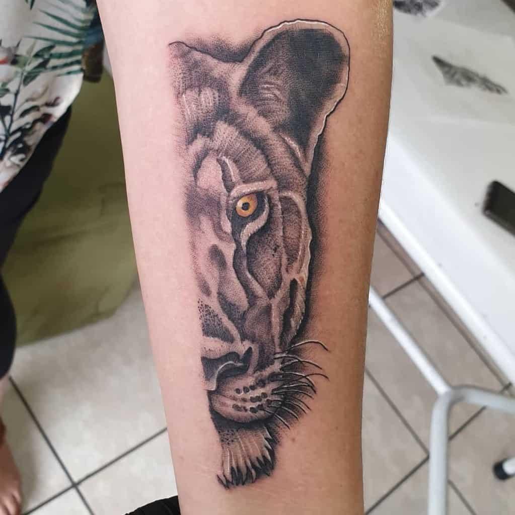 Big Cat Black Grey Lioness Tattoo