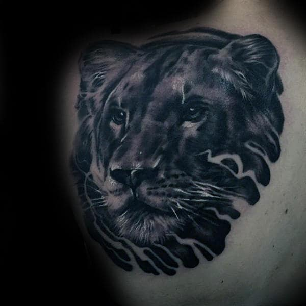 Big Cat Guys Lion Head Upper Back Tattoo