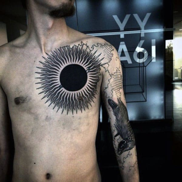 Big Chest Sun Tattoo Men With Rays