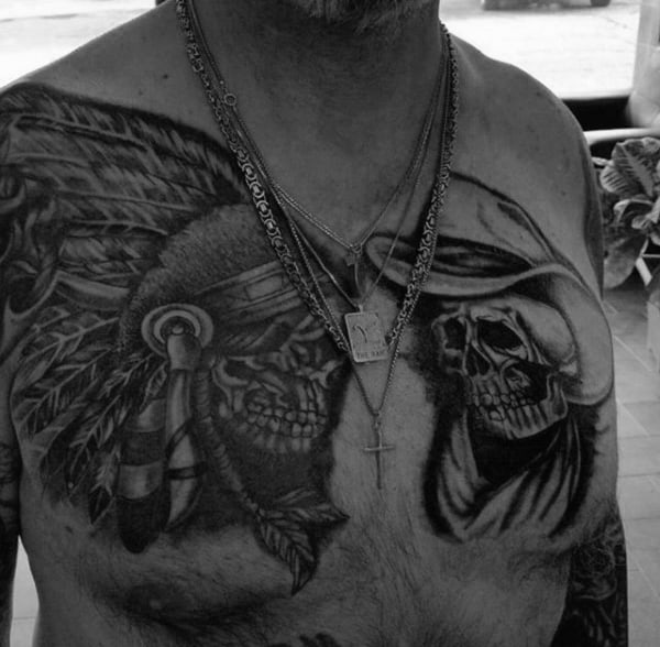 Big Chest Tattoo Shaded Indian Skull And Cowboy For Men