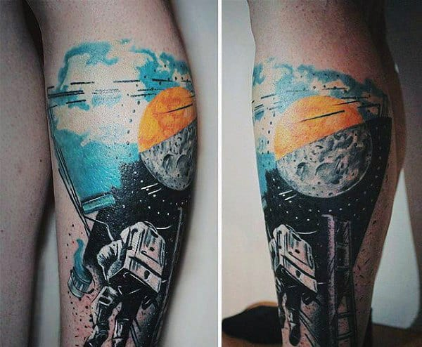 Floating Astronaut Tattoos On Men