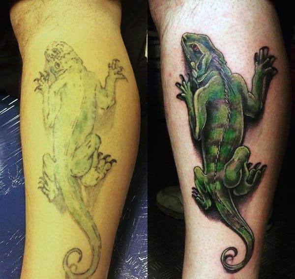 Big Green Lizard Tattoo On Calves For Men