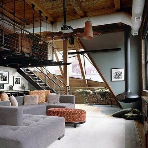 Big Loft Living Room Bachelor Pad With Fireplace