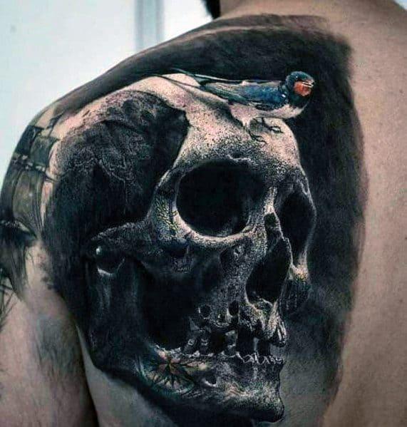 Big Mens 3d Realistic Skull With Bird Half Back Tattoo
