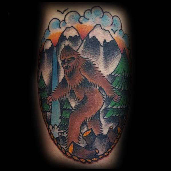 Silliness >> 50 Bigfoot Tattoo Designs For Men - Mythological Creature Ink Ideas