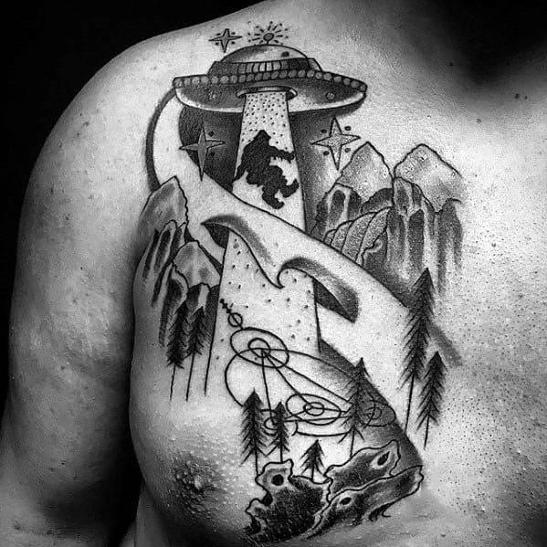 Bigfoot Tattoos Men On Chest
