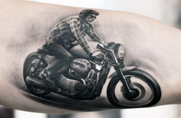Biker Tribute Mens Arm Tattoo With Shaded Design