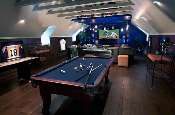 Billards Sports Themed Gaming Man Cave With Media Room