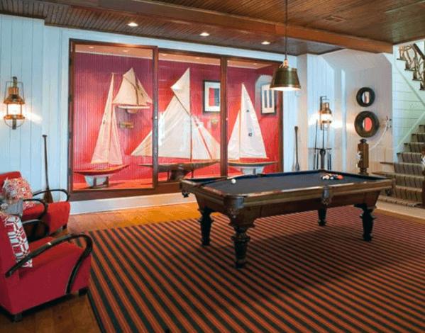 Billiards Room Interior Design With Sailboat Wall Decor