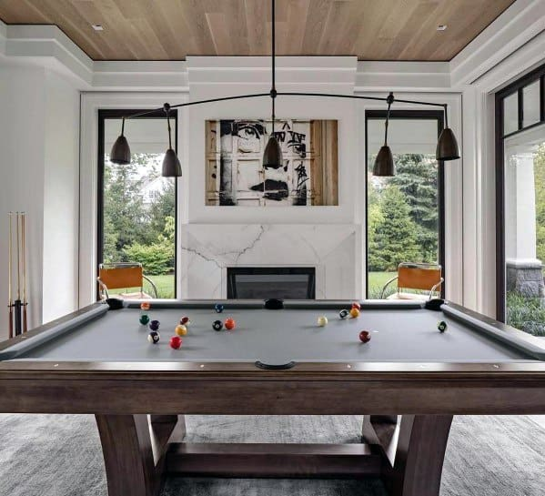 Billiards Rooms With Wood Ceiling And White Walls