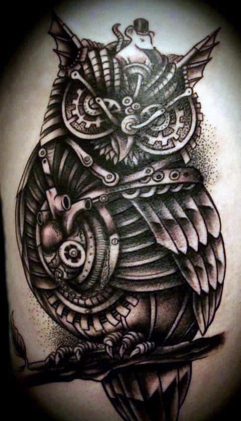 Owl Biomechanical Tattoo Sleeves For Men