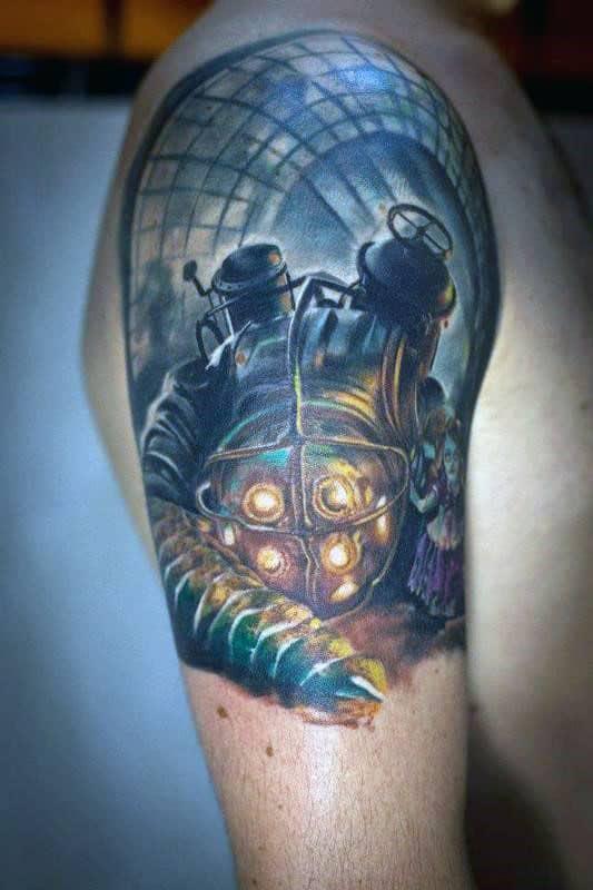 Bioshock Mens Quater Sleeve Tattoos