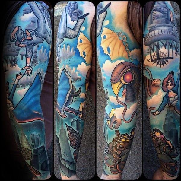 Bioshock Themed Mens Full Sleeve Tattoos