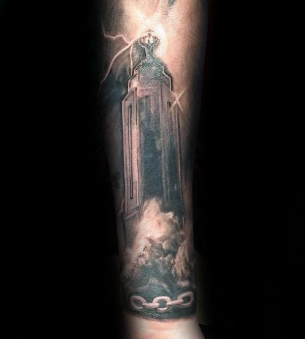 Bioshock Tower And Chains Forearm Tattoo