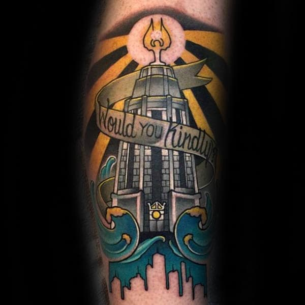 Bioshock Tower Would You Kindly Mens Ornate Leg Tattoos