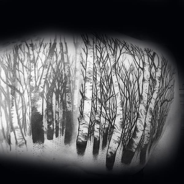 Birch Trees Mens Back Tattoo