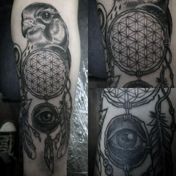 Bird All Seeing Eye Dreamcatcher Mens Forearm Tattoo