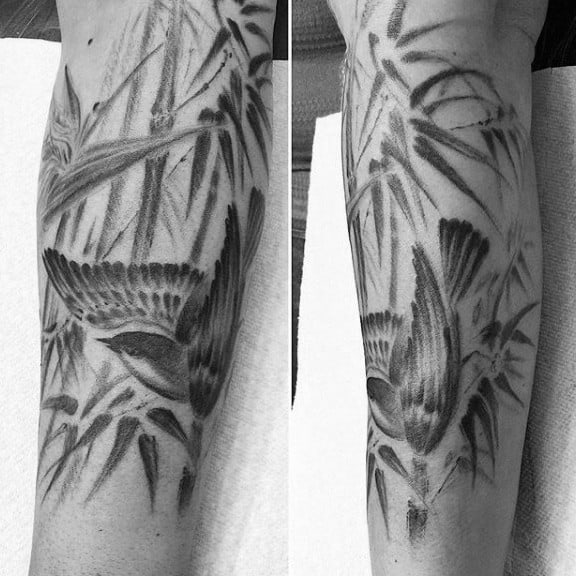 Bird Bamboo Watercolor Leg Tattoos For Men