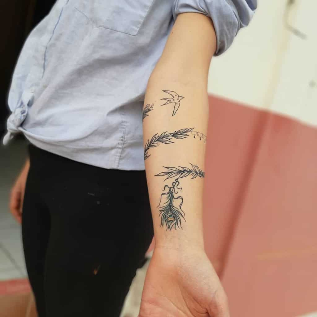 Bird Bracelet Peacock Feather Tattoo
