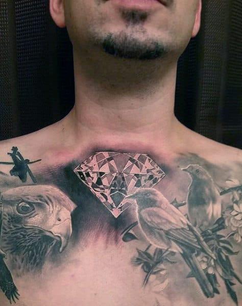Bird Diamond Mens Chest Tattoos