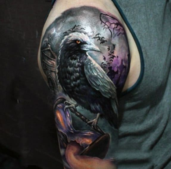 Bird Holding Hourglass With Claws Mens Upper Arm Half Sleeve Tattoos