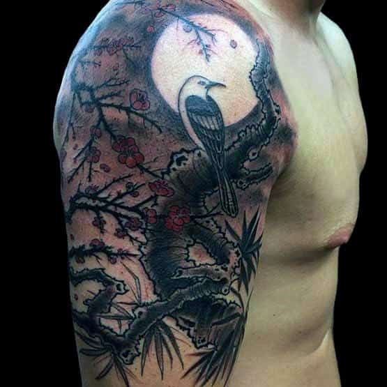 Bird On Cherry Blossom Tree Under Moon Mens Half Sleeve Tattoo