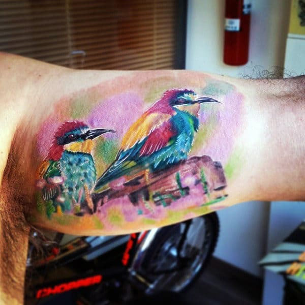 Bird Painting Tattoo Mens Inner Biceps