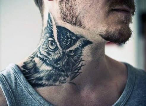 Neck Bird Wings Tattoo For Men