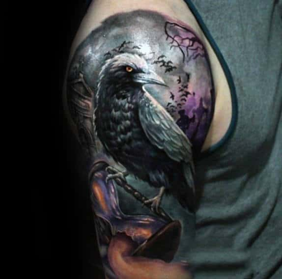 Bird With Broken Hourglass Mens Half Sleeve Tattoos