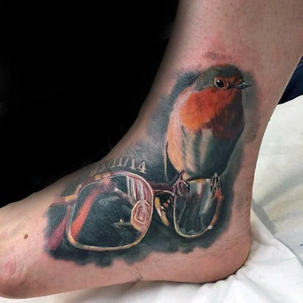 Bird With Glasses Memorial Guys Foot And Ankle Tattoo