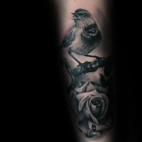 Bird With Realistic Rose Mens Forearm Tattoo