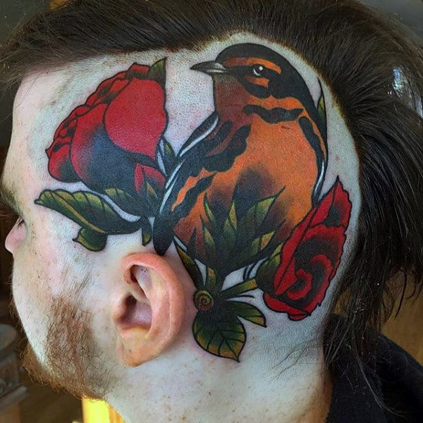 Bird With Rose Flowers Mens Head Tattoos