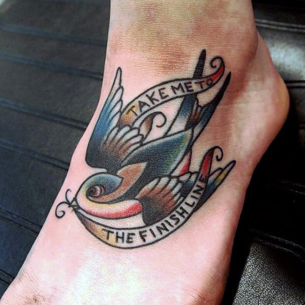 Bird With Saying Tattoo On Foot For Guys
