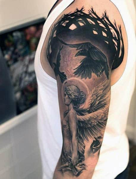 Birds And Angel Tattoos For Men