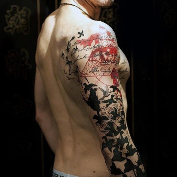 Birds Flying Artistic Guys Sleeve Tattoos