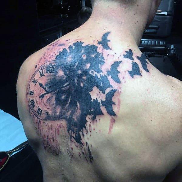 Birds Flying From Melting Clock Mens Back Tattoos