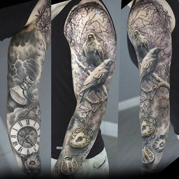 Colored Sleeve Tattoo Of Birds: 70 Unique Sleeve Tattoos For Men