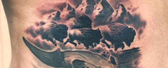 Bison Buffalo Tattoo Designs For Men