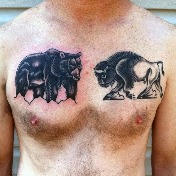 Bison Charging At Bear Mens Upper Chest Old School Tattoo