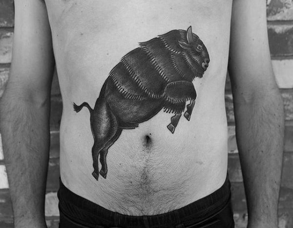 Bison Jumping Mens Stomach Tattoos
