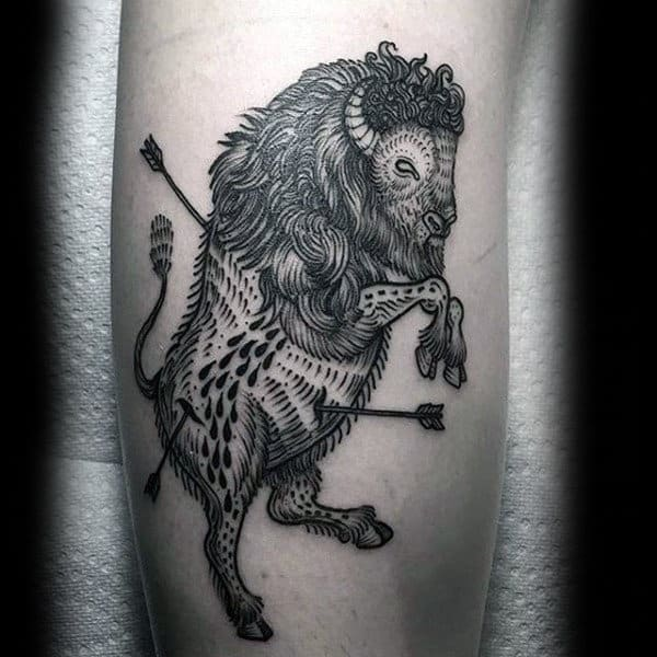 Bison With Arrows Mens Leg Tattoos